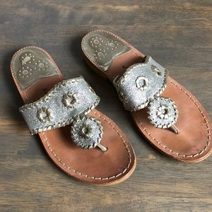 Jack Rogers silver glitter sandals, 5.5